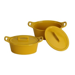 OmniWare Oval Casserole Set with Lids (Set of 2) (Option: Yellow)