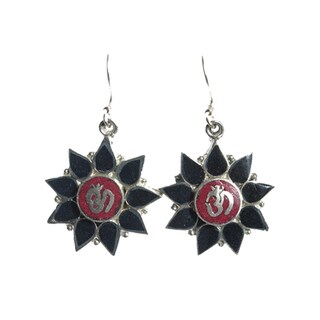 Onyx Floral Om Earrings (Nepal)