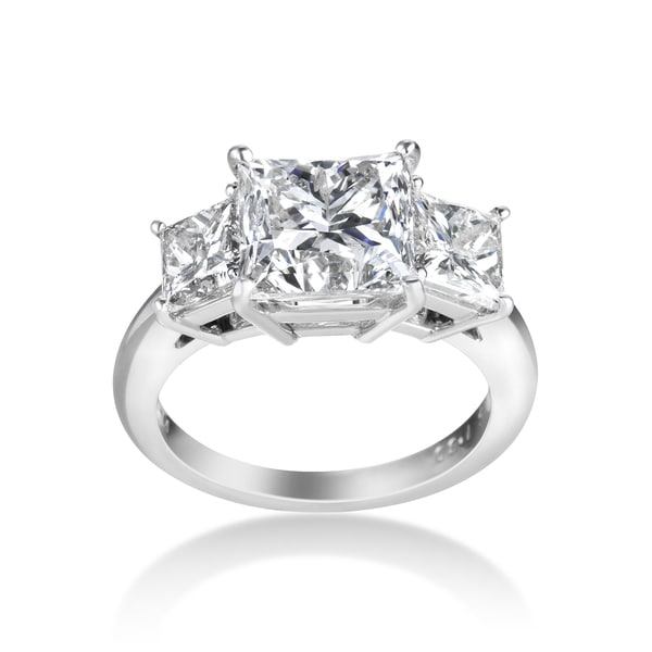 SummerRose Platinum 5.92ct TDW Certified Diamond Engagement Ring - White
