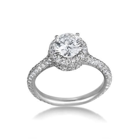 SummerRose Platinum 1.83ct TDW Certified Diamond Engagement Ring - White
