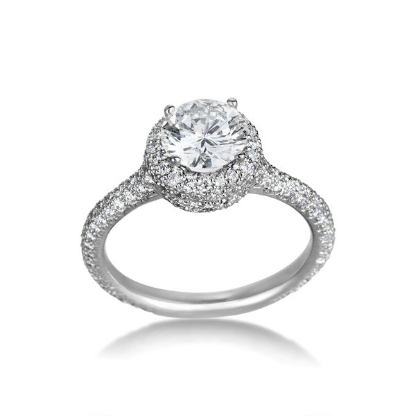 SummerRose Platinum 1.83ct TDW Certified Diamond Engagement Ring - White