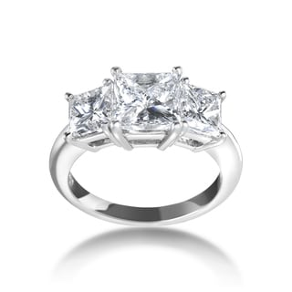 SummerRose Platinum 4ct TDW Certified 3-stone Diamond Engagement Ring (F-G, VVS1-VVS2)