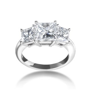 SummerRose Platinum 4ct TDW Certified 3-stone Diamond Engagement Ring