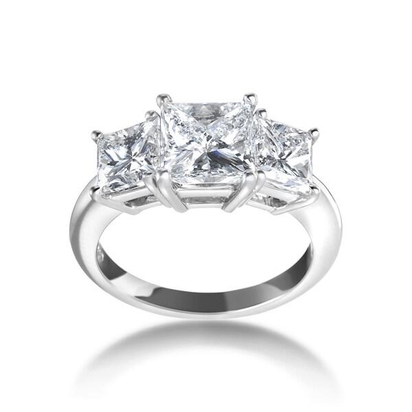 SummerRose Platinum 4ct TDW Certified 3-stone Diamond Engagement Ring - White