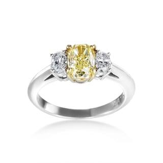 SummerRose Platinum 1 3/4ct TDW Yellow and White 3-stone Diamond Ring (F-G, VS1-VS2)