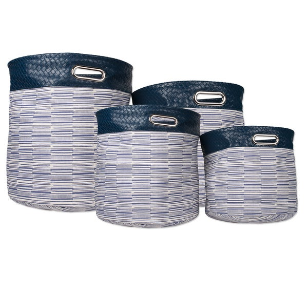 Faux Leather 4-piece Blue Striped Storage Bins