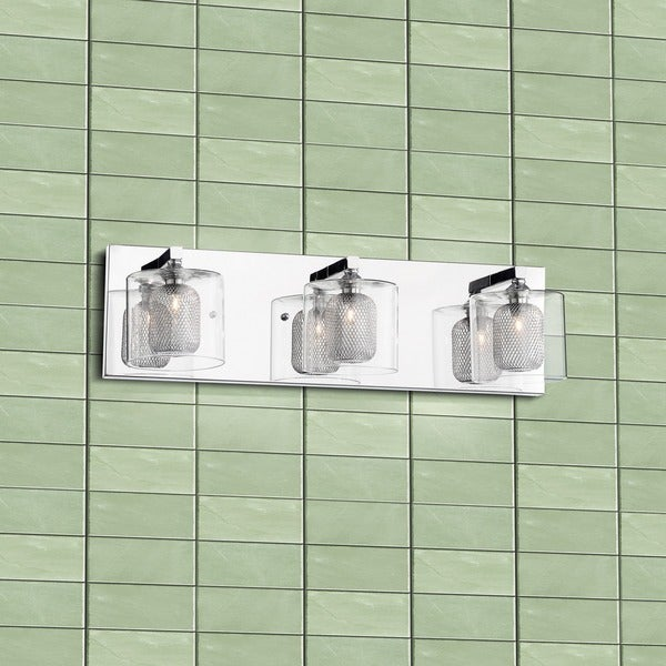 Leticia 3-light Chrome Wall Sconce with Glass and Aluminium Shade