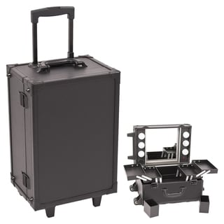 Sunrise Black Professional Rolling Makeup Studio Case with Lights/ Mirror