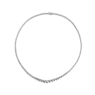 SummerRose 18k White Gold 9ct TDW 3-prong Graduated Tennis Necklace (G-H, VS1-VS2)