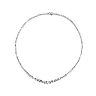 SummerRose 18k White Gold 9ct TDW 3-prong Graduated Tennis Necklace