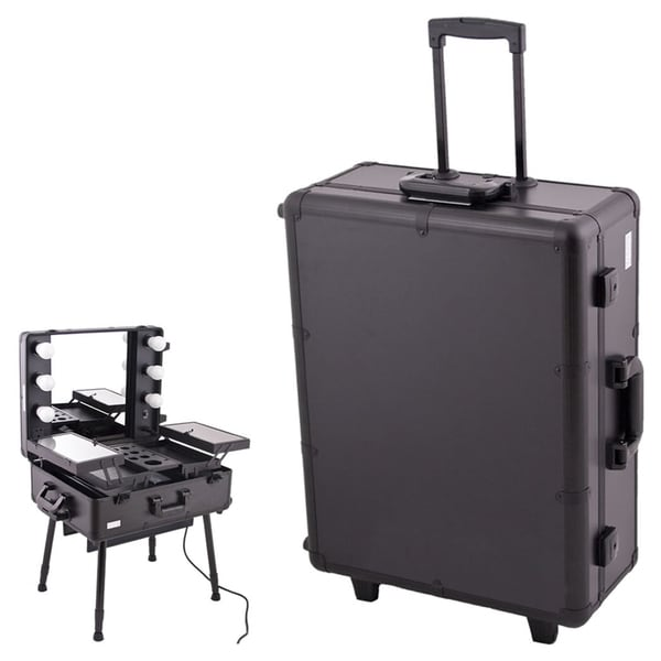 Sunrise Black Professional Rolling Studio Makeup Case With