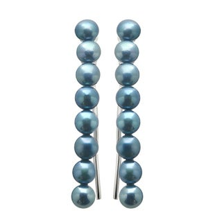Pearls For You Sterling Silver Dyed Blue FWP Dangle Earrings (4-4.5 mm)