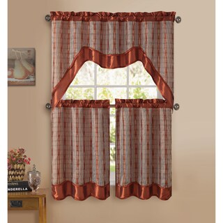 VCNY Sabrina 3-piece Kitchen Curtain Set (Option: Brown)