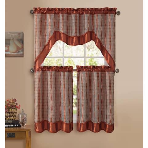 VCNY Sabrina 3-piece Kitchen Curtain Set