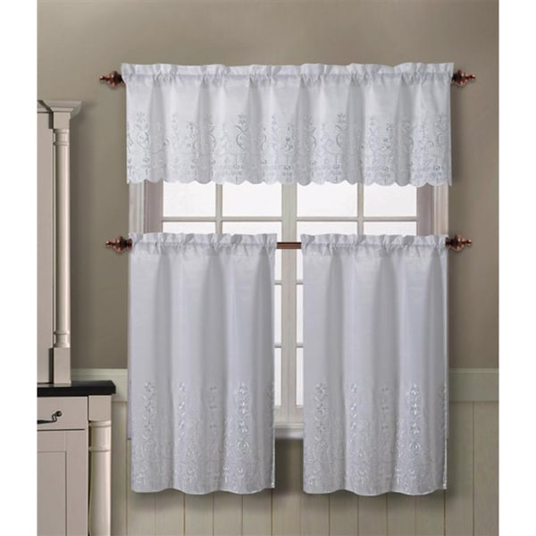 Shop VCNY Aileen 3-piece Kitchen Curtain Set