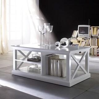 NovaSolo 3-shelf White Mahogany Coffee Table