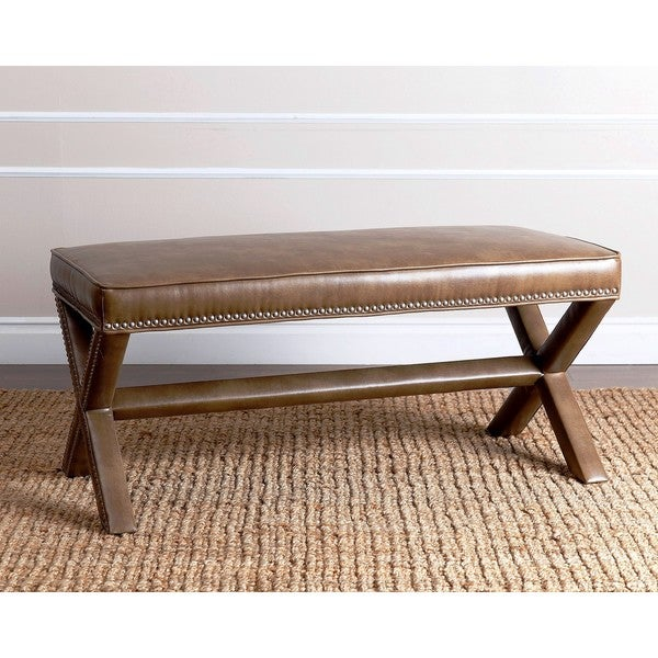 Abbyson Marcus Brown Leather Nailhead Trim Extended X Bench