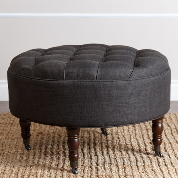Abbyson Clarence Round Grey Fabric Tufted Ottoman