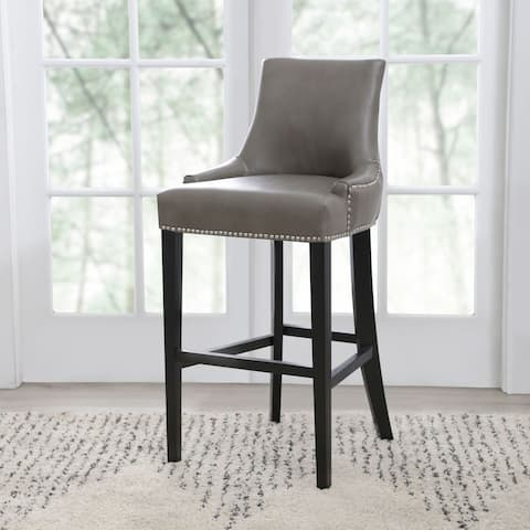 Abbyson Newport Grey Leather Nailhead Trim Bar Stool