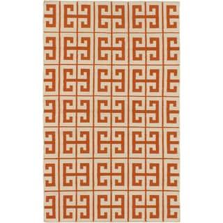 Kerala Cream/ Dark Orange Wool Open Field Kilim (5'0 x 8'0)