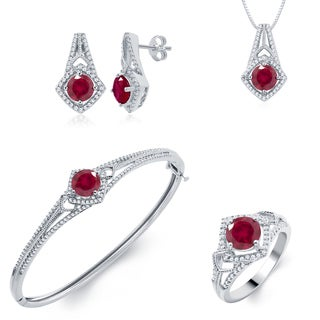 Divina Brass Jewelry Set- Diamond and Created Ruby (I-J, I2-I3)