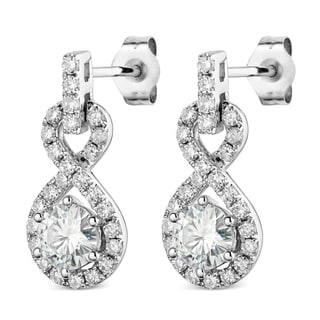 Charles & Colvard 14k White Gold 1.52 TGW Round Classic Moissanite Dangle Earrings