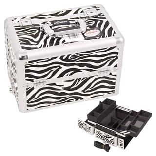Sunrise Zebra Interchangeable Easy Slide Extendable Tray Makeup Case