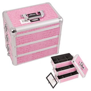 Sunrise Pink Crocodile Interchangeable Stackable Tray Makeup Case