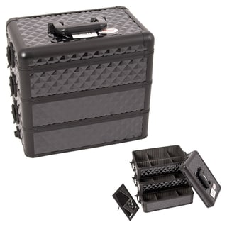 Sunrise Black Interchangeable Stackable Tray Diamond Pattern Makeup Case