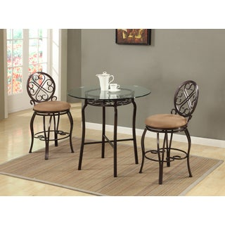 Christopher Knight Home Lizzy Brown Traditional Metal Base Counter Set (Set of 3)