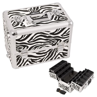 Sunrise Zebra Print Interchangeable 6-tier Extendable Tray Makeup Case