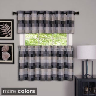 Achim Harvard Checker Rod Pocket Curtain Tier Pair