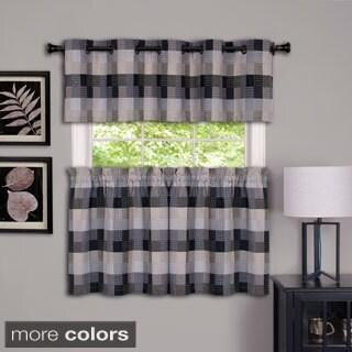 Achim Harvard Checker Rod Pocket Curtain Tier Pair