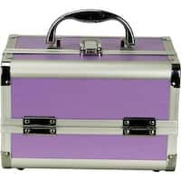 Justcase Purple 2-tier Extendable Trays Makeup Train Case