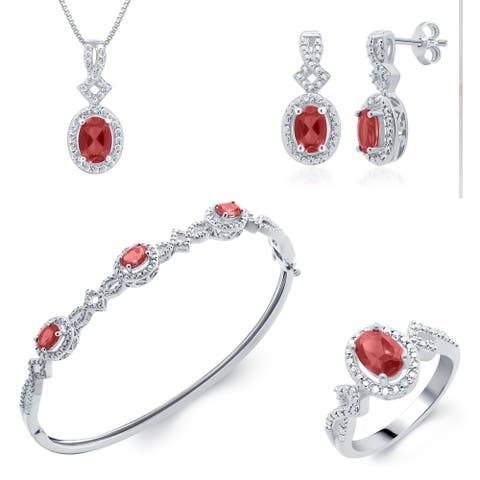 Divina Silver over Brass Jewelry Set- Ruby and Diamond (I-J, I2-I3)