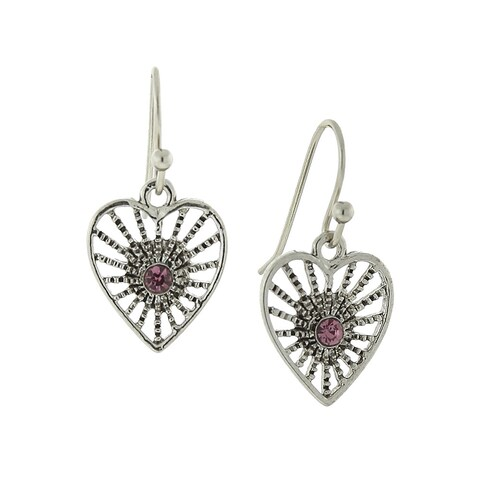 1928 Jewelry Antiqued Silver Tone Amethyst Petite Filigree Heart Earrings