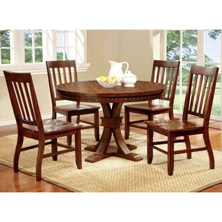 Furniture of America Ralphie 5-Piece Industrial Dark Oak Round Dining Set