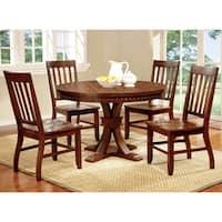 Furniture of America Ralphie 5-Piece Industrial Dark Oak Round Dining Set