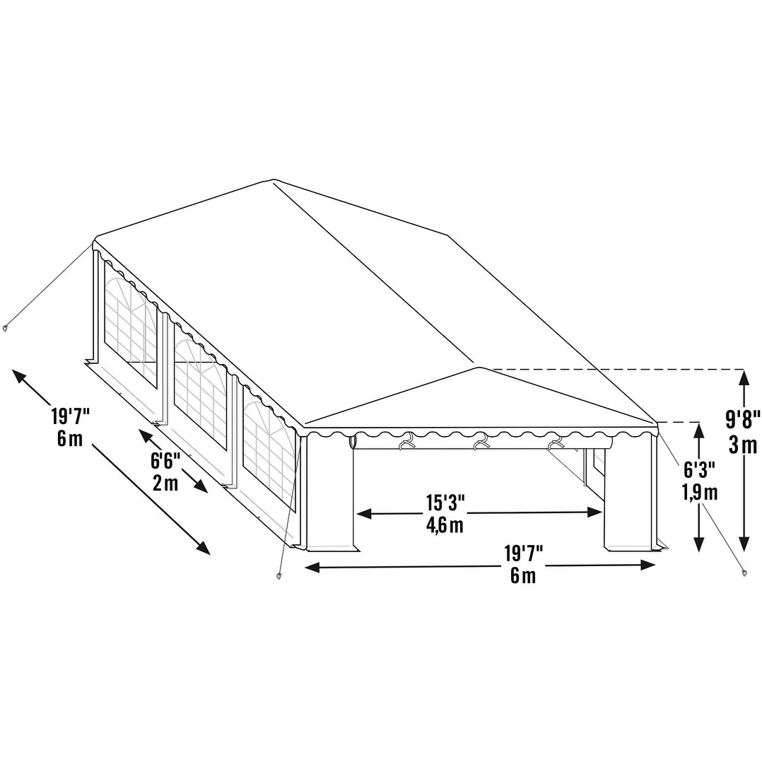 ShelterLogic 20' x 20' Green and White Party Tent Enclosu...