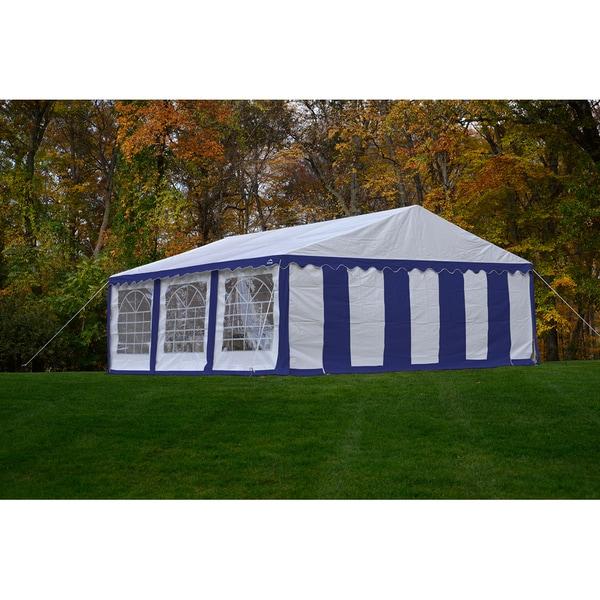 Purchase Shelterlogic 20 20 Blue Canopy : Shelterlogic  blue and white party tent enclosure