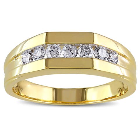 Miadora 10k Yellow Gold 1/2ct TDW Channel-Set Men's Diamond Ring