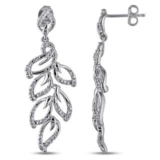 Miadora Sterling Silver 1/4ct TDW Diamond Leaf Earrings (G-H, I2-I3)