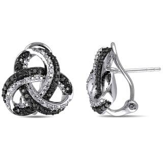 Miadora Sterling Silver 1/2ct TDW Black and White Diamond Celtic Stud Earrings (G-H, I2-I3)