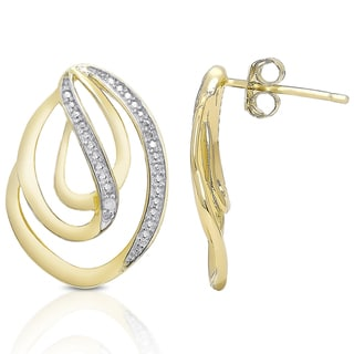 Finesque Gold over Silver Diamond Accent Swirl Earrings