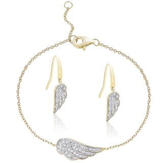 Finesque Gold over Silver Diamond Accent Feather Bracelet and Earrings Set