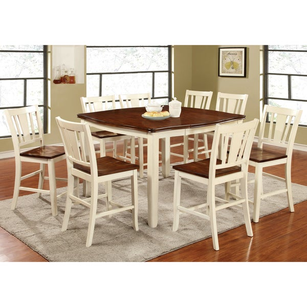 Furniture Of America Betsy Jane 9 Piece Country Style Counter Height Dining  Set   Free Shipping Today   Overstock.com   17090048