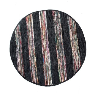 Black Broadway Collection Rug (4.9' Round)