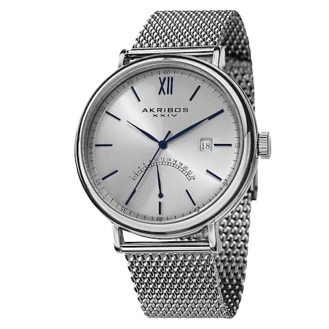 Akribos XXIV Men's Quartz GMT & Date Stainless Steel Silver-Tone Strap Watch