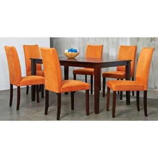 Shino 7-piece Orange Microfiber and Light Cappucino Dining Set