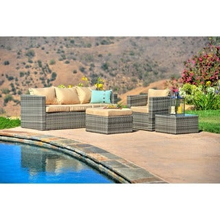 the-Hom Caribe 4-piece All-weather Grey Wicker Patio Seating Set with Beige Cushions